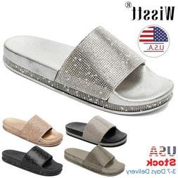 Women Diamante Sliders Slip On Flat Flip Flops Slippers Summ