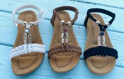 Women Flat Sandals SummerFlip Flops Open Toe Black Tan Fas