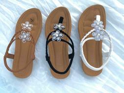 Women Flat Sandals Ladies SummerFlip Flops Shoes Black Tan