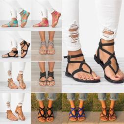 Women Flats Sandals Flip Flop T-Strap Strappy Gladiator Blac