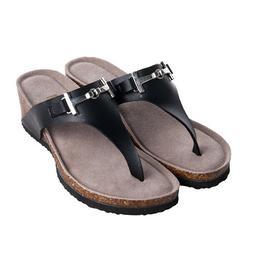 OwnShoe Women Gizeh Thong Flip-Flops Cork Sandals Platform F