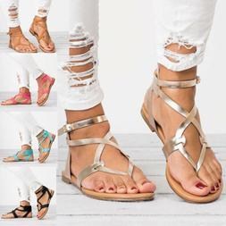 Women Gladiator Roman Flat Flip Flops Sandals Beach Ankle St