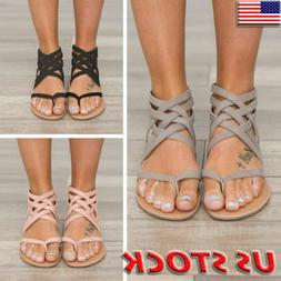 Women Gladiator Sandals Shoes Thong Flip Flops Flat T Strap