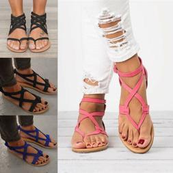 Women Gladiator Sandals Y-strap Slingback Roman Flats Beach