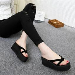 Women High Heel Wedge Platform Flip Flops Sandal Slipper Sho