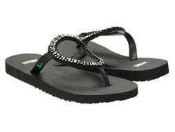 Women Sanuk Ibiza Monaco Flip Flop Sandal SWS3058 Black 100%