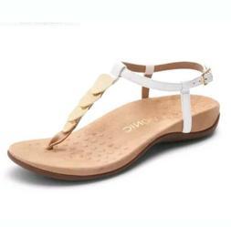 Vionic Women Miami White T Strap Leather Gold Hardware Sanda