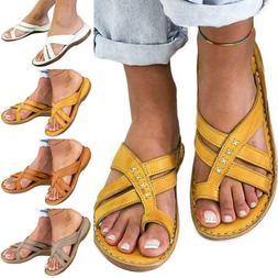 Women Orthopedic Sandals Flip Flops Open Toe Flat Comfy Summ