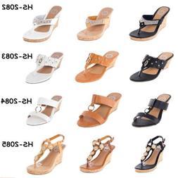 Women Platform Thong Wedge Sandals Fashion Heel Slip-Ons Fli