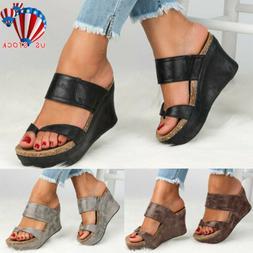 Women Platform Wedge High Heels Sandals Ladies Summer Flip F