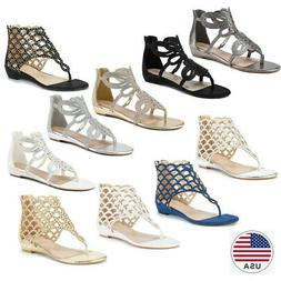 Women Rhinestones Thong-style Ankle High Flats Flip Flops Be