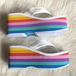 Women's 10 Rocket Dog rainbow stripe white platform flip flo
