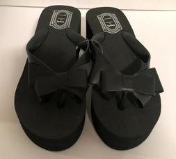 Women's Black Wedge Platform Thong Flip Flops Slip On Sandal