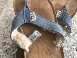 women s blue suede shearling flip flops