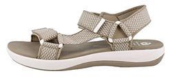 CLARKS Women's Brizo Cady Sandal, Sand/White Textile, 8.5 M
