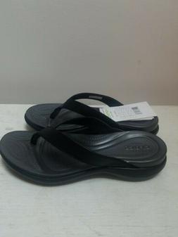 Crocs Women's Capri V Comfort Flip, Black/Graphite, 6 M US