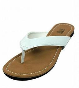 Kali Footwear Women's Cocoa Flat Thong Sandals White, 5 5 M