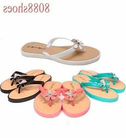 Women's Cute Jelly Thong Flower Bow Flat Sandal Flip Flops S