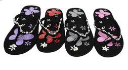 Women's Decorative Butterlfly Print Flip Flops Summer Beach