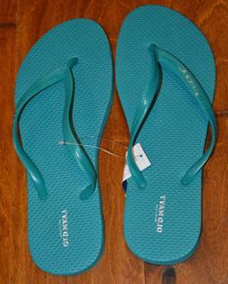 Women's Old Navy Deep Sea Blue Slip On Flip Flops Sandals Si