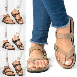 Women's Flat Sandals Slide Buckle T-Strap Cork Footbed Platf