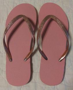 Aeropostale Women's Flip Flops Glitter Pink Size 7 NWOT