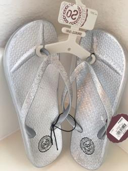 Women's So Flip Flops Silver Glitter 5/6 5 6 Small Metallic