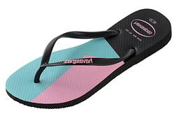 Havaianas Women`s Flip Flops Slim Color Block Sandals Black
