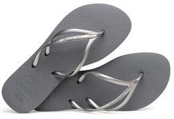 Havaianas Women`s Flip Flops Slim New Tria Sandals Steel Gre
