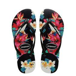 Havaianas Women`s Flip Flops Slim Tropical Floral Sandals Bl