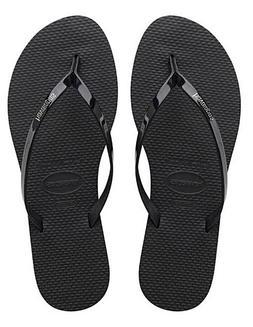 Havaianas Women`s Flip Flops You Metallic Sandals Black  NWT