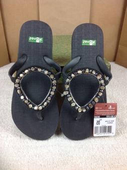 Sanuk Women's Ibiza Gypsy Sandals Flip Flops Pearl Size 5 US