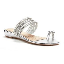 DREAM PAIRS Women Jewel Fashion Flat Summer Rhinestones Flip