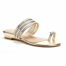 DREAM PAIRS Women's Jewel Flip-Flop Sandals