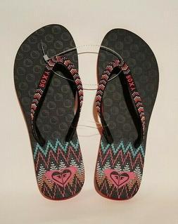 Roxy Women's Lei Pink Black Flip Flop Thong Sandals Size 8 F
