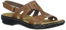 CLARKS Women's Leisa Annual Sandal, Dark Tan Leather, 9 Medi