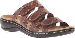 CLARKS Women's Leisa Cacti Slide Sandal, Brown/Multi, 7 W US