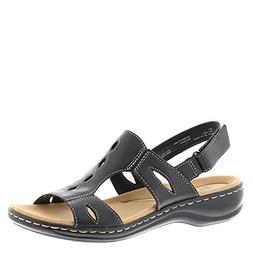 CLARKS Women's Leisa Lakelyn Flat Sandal, Black Leather, 9 M