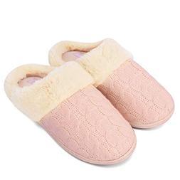 Fanture Women's Memory Foam Slippers Sweater Knit Faux Fur C