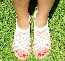 Women's Open Toe Cross Straps Side Buckle Flat Sandals Flip