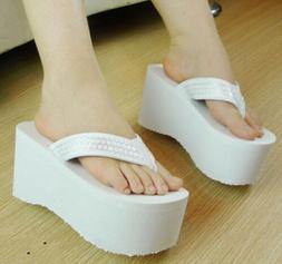 Women's Popularity Sequins Thong Platform Wedge Heels Flip F