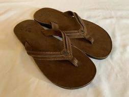 Reef Women's Sandals Flip Flops Brown Tan Leather Casual Siz