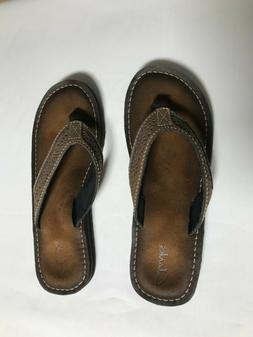 Clarks Women's Sandals Size 9M Brown Leather Flip Flops Thon