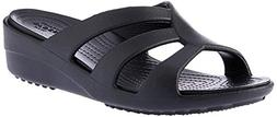 crocs Women's Sanrah Strappy Wedge Sandal, Black, 8 M US