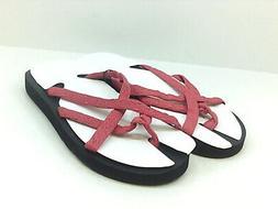 Fanture Womens LX3U Flip Flops, Red, Size 8.0