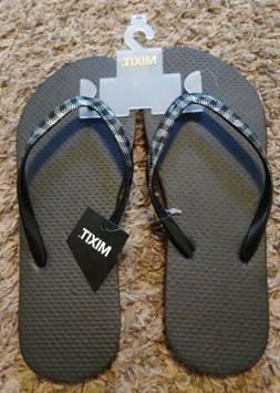 Women's MIXIT Size 5/6 Black Plaid Flip Flops
