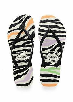 Havaianas Women's Slim Animal's Flip Flop Black/White Sandal