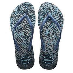 Havaianas Women's Slim Animal's Flip Flop Grey/Navy Blue 7-8