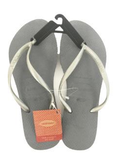 Havaianas Women's Slim Flip Flop Grey/Silver Sandals 9-10 US