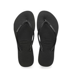 HAVAIANAS WOMEN'S SLIM SPARKLE FLIP FLOPS BLACK NWT Size 39